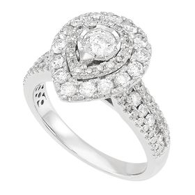 1 1/2 ct Diamond Pear-Shaped Halo Ring