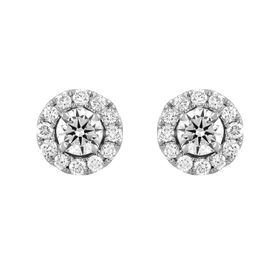 1 ct Lab Grown Diamond Halo Stud Earrings