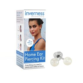 Home Ear Piercing Kit with Crystal Pearl Stud Earrings