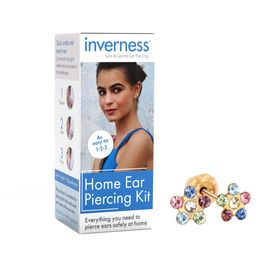 Home Ear Piercing Kit with Multi-Color Crystal Flower Stud Earrings