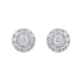 1/2 ct Lab Grown Diamond Halo Stud Earrings