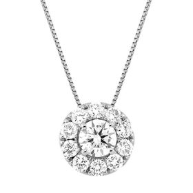 1 ct Lab Grown Diamond Halo Circle Pendant, 10K