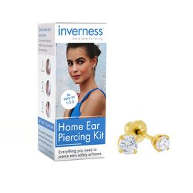 Home Ear Piercing Kit with 3 mm Cubic Zirconia Stud Earrings, Yellow