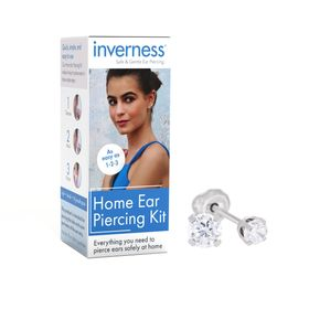 Home Ear Piercing Kit with 3 mm Cubic Zirconia Stud Earrings, White