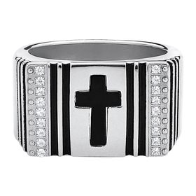 Men's Cross Ring with Cubic Zirconias