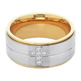 Men's Two-Tone Cross Band Ring with Cubic Zirconias