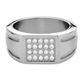 Men's Square Center Ring with Cubic Zirconias