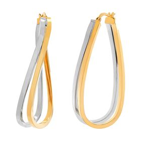 Double Curve Hoop Earrings, Two-Tone