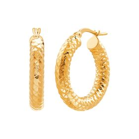 15 mm Textured Hoop Earrings