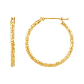 25 mm Crystal-Cut Hoop Earrings