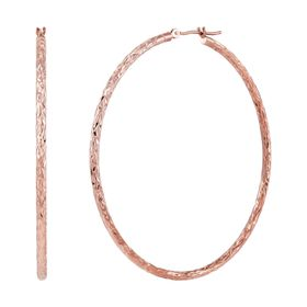 50 Mm Round & Textured Hoop Earrings, Rose