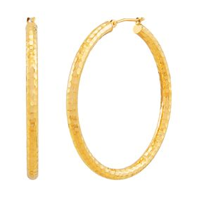 40 mm Hammered Hoop Earrings
