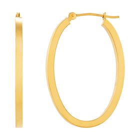 30 mm Oval Square Tube Hoop Earrings