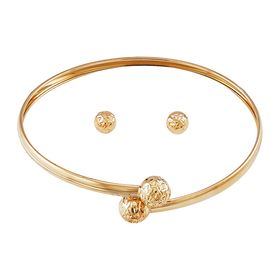 Diamond-Cut Stud Earrings & Bracelet Set