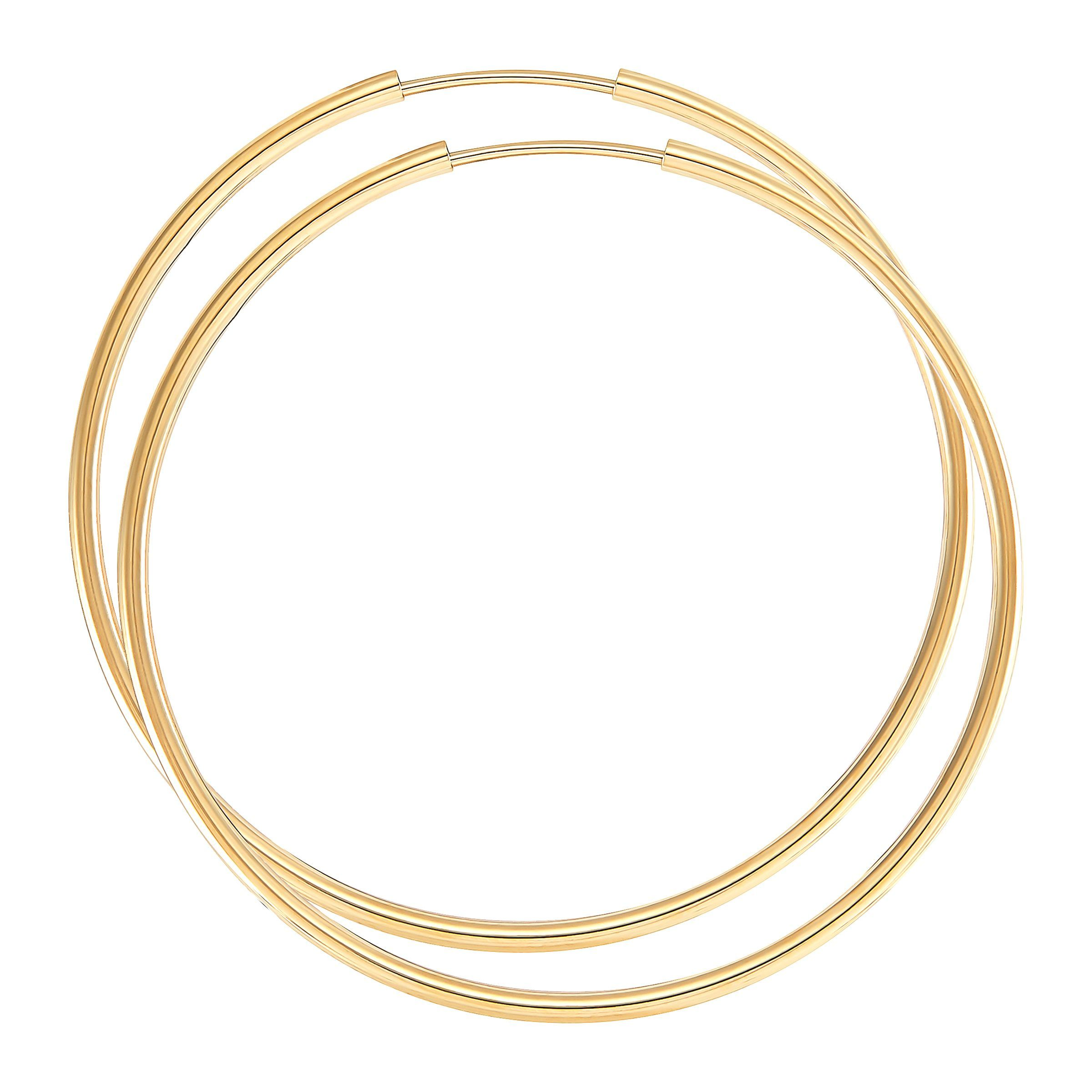 Solid 14K White Gold Textured Endless Hoop Earrings 1.5mm Thickness