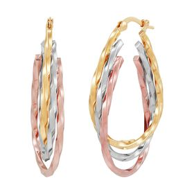 Three-Tone Triple Oval Twist Hoop Earrings