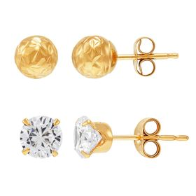 Ball & Cubic Zirconia Earring Set