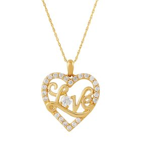 'Love' Heart Pendant with Cubic Zirconias