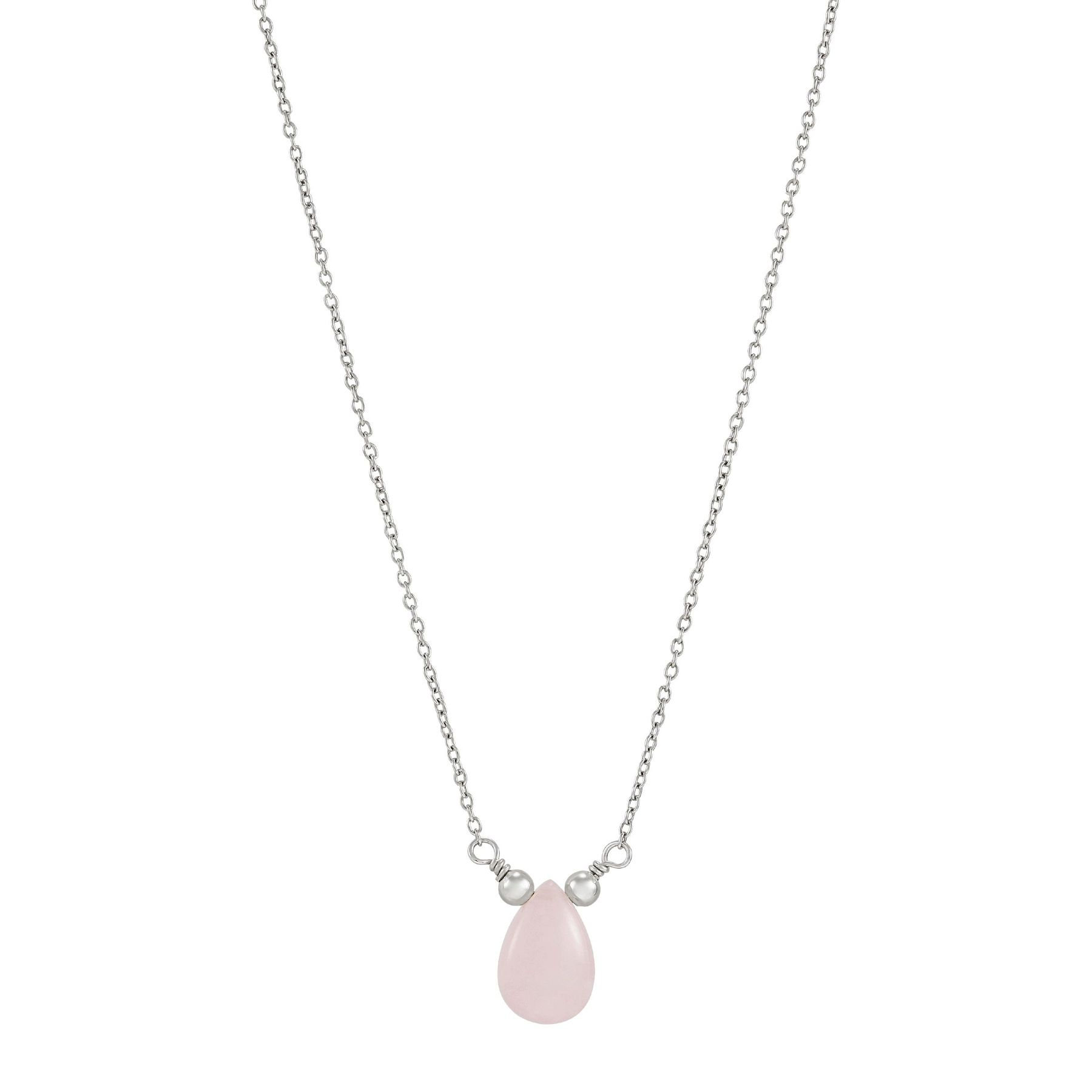 Rose Quartz Pendant Rose Gold Sterling Silver Necklace