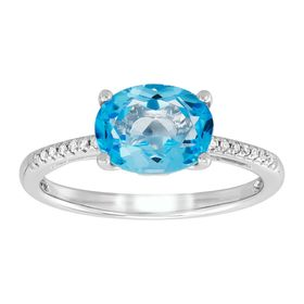 Oval Swiss Blue Topaz with Diamonds