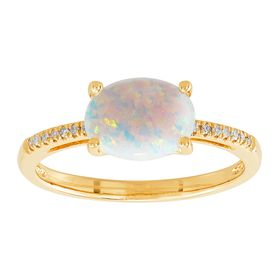 Oval Opal Ring with Diamonds