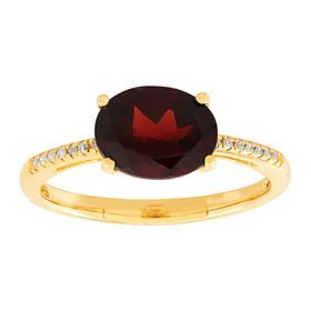 Oval Garnet Ring with Diamonds