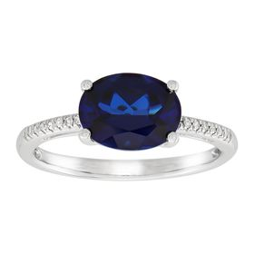 Oval Blue Sapphire Ring with Diamonds