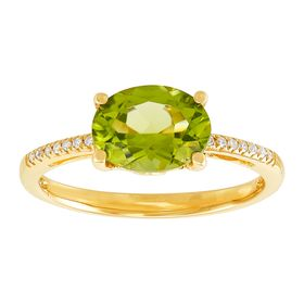 Oval Peridot Ring with Diamonds