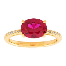 Oval Ruby Ring with Diamonds