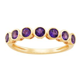 Amethyst Seven Stone Band Ring