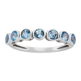 Swiss Blue Topaz Seven Stone Band Ring