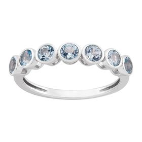 Aquamarine Seven Stone Band Ring