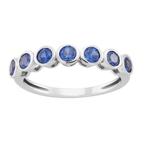 Blue Sapphire Seven Stone Band Ring