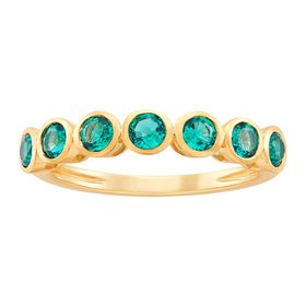 Emerald Seven Stone Band Ring