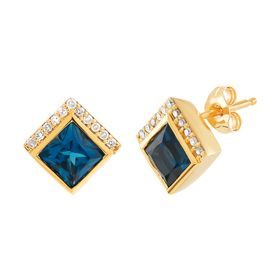 London Blue Topaz Stud Earrings with 1/10 ct Diamonds