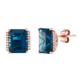 London Blue Topaz Stud Earrings with Diamonds