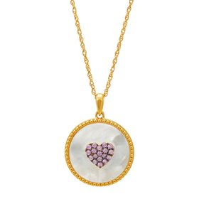 Mother-of-Pearl & Pink Sapphire Circle Heart Pendant