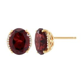 Garnet Oval Stud Earrings with Diamonds
