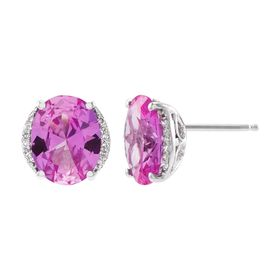 Pink Sapphire Oval Stud Earrings with Diamonds