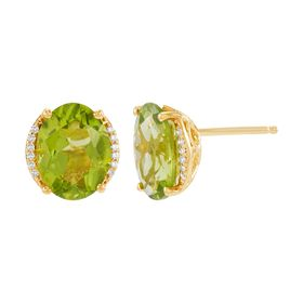 Peridot Oval Stud Earrings with Diamonds