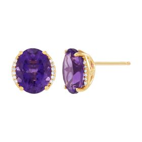 Amethyst Oval Stud Earrings with Diamonds