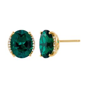 Emerald Oval Stud Earrings with Diamonds