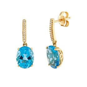 Blue Topaz Drop Earrings with Diamonds