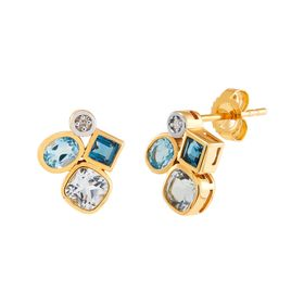 Blue Topaz Cluster Earrings with Diamonds