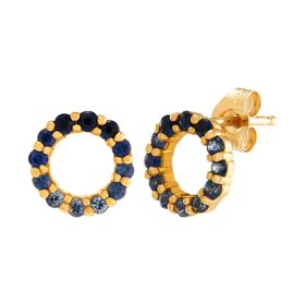 Ombré Blue Sapphire Open Circle Earrings