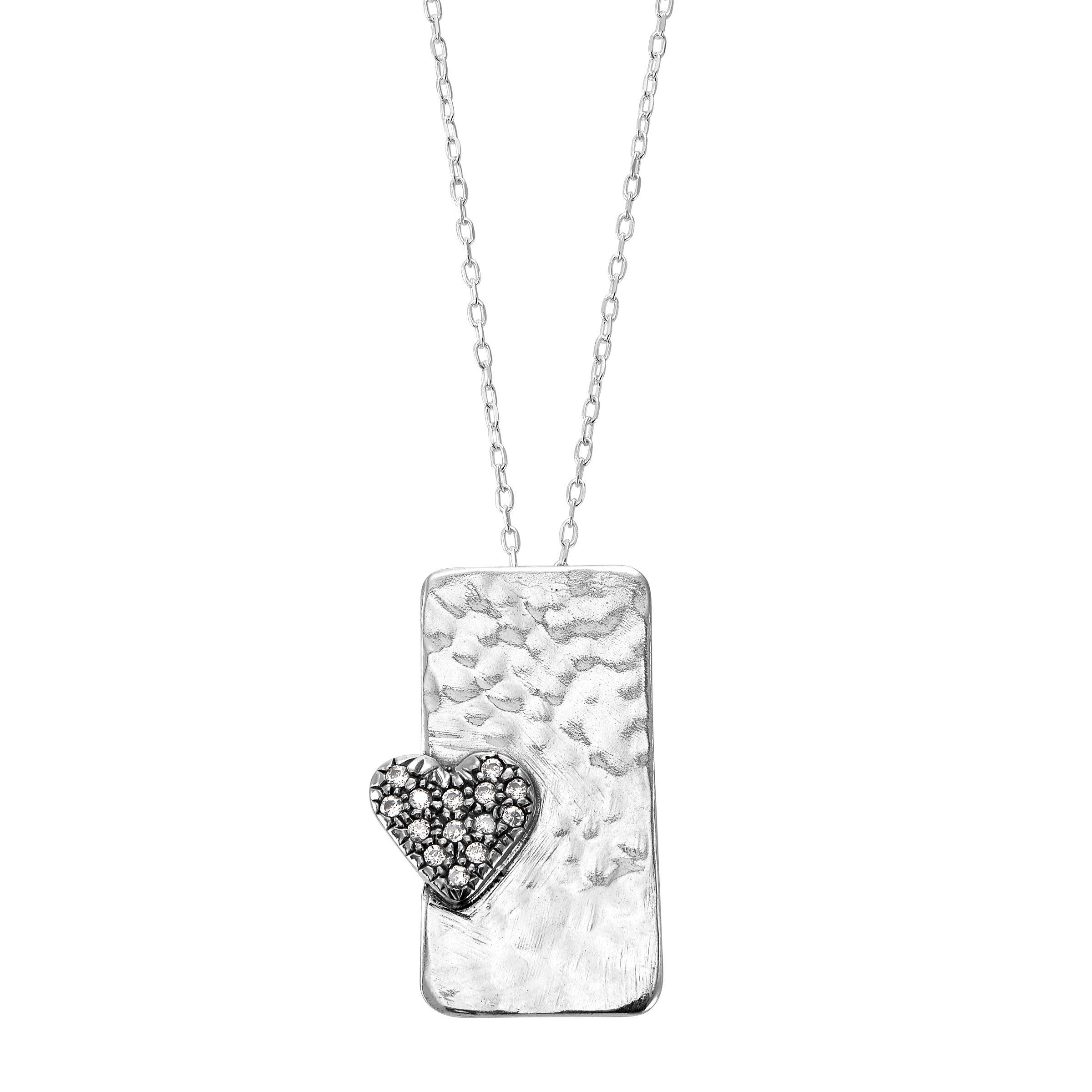 silver heart square pendenant necklace