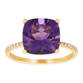 Amethyst Cushion-Cut Ring with Diamonds