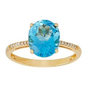 Blue Topaz Oval-Cut Ring with Diamonds