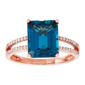 London Blue Topaz & 1/10 ct Diamond Ring
