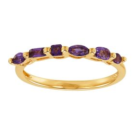 Geometric Amethyst Band Ring
